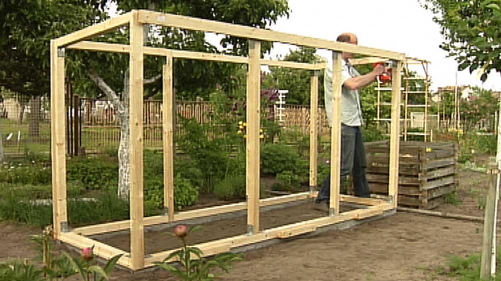 Gewächshaus 4 Holzrahmen Aufbauen